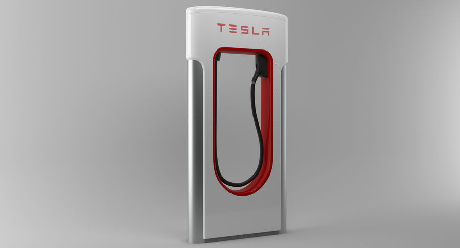 Tesla Car Charger royalty-free 3d model - Preview no. 3
