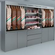 Refrigerated Showcase with pork products 3d model