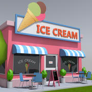 Magasin de crème glacée low poly 3d model