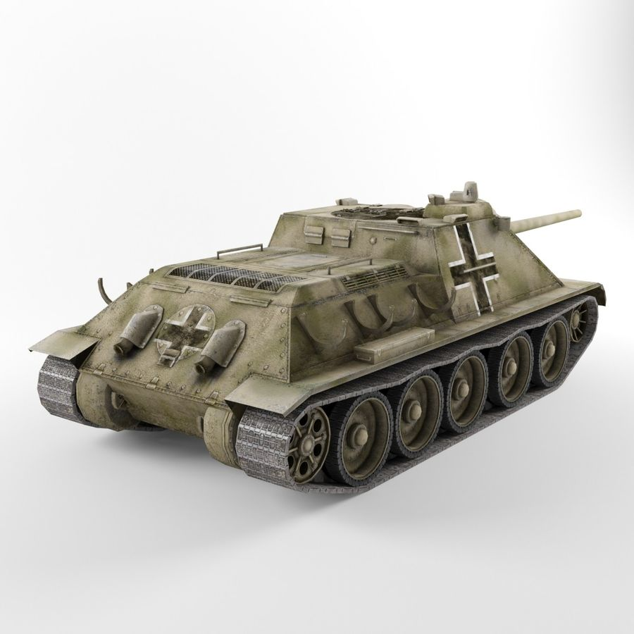 Captured Soviet tank SU-85-II royalty-free 3d model - Preview no. 5