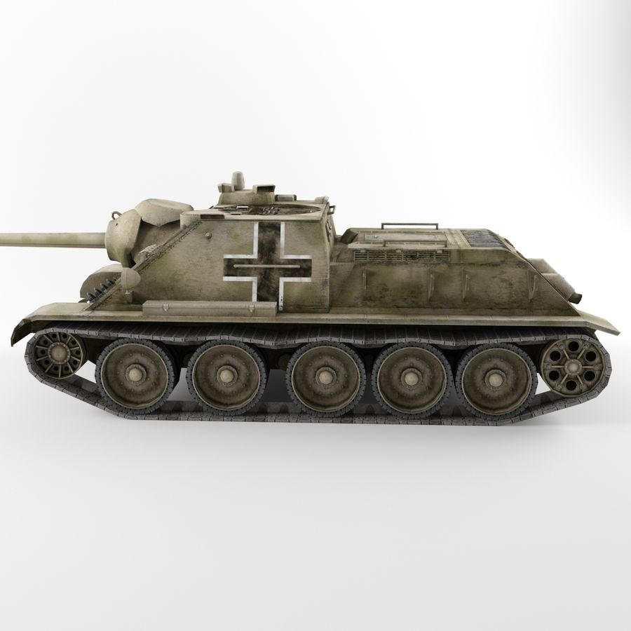Captured Soviet tank SU-85-II royalty-free 3d model - Preview no. 6