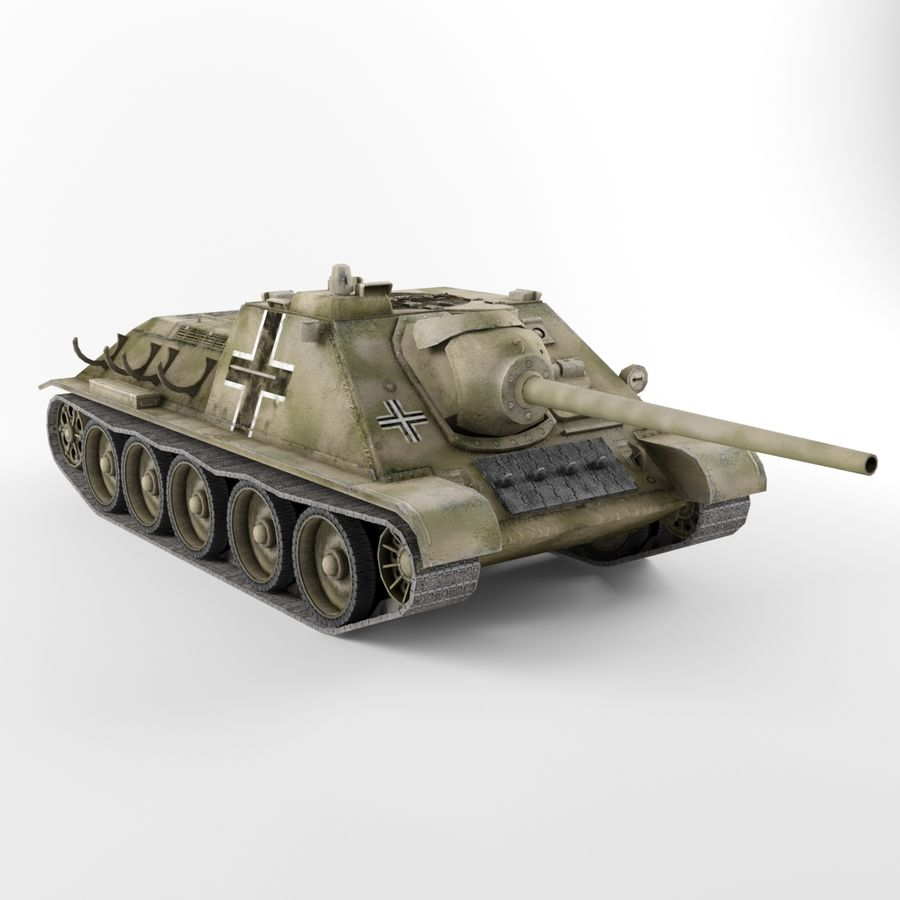 Captured Soviet tank SU-85-II royalty-free 3d model - Preview no. 4