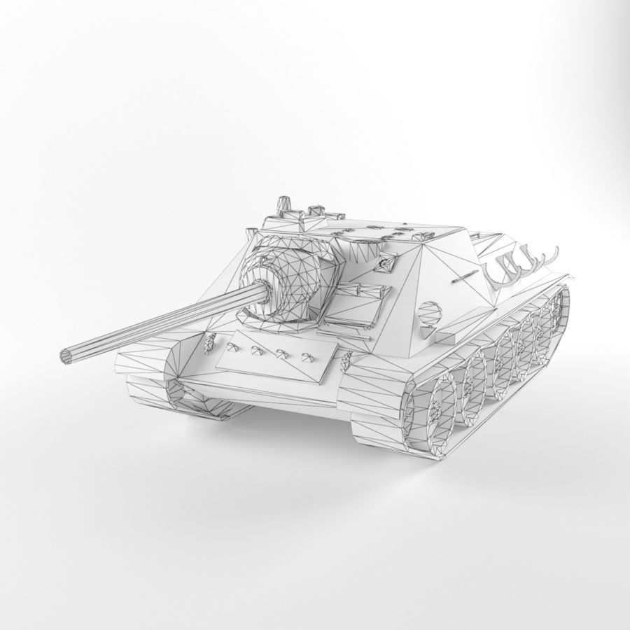 Captured Soviet tank SU-85-II royalty-free 3d model - Preview no. 9