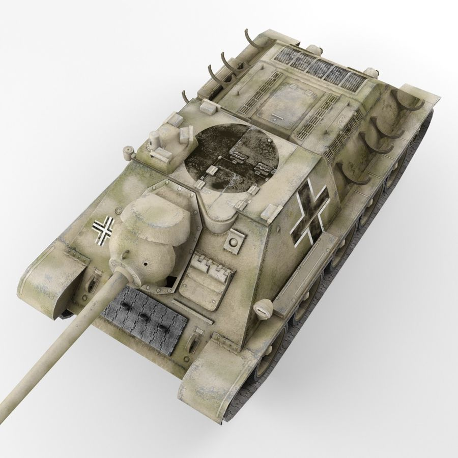 Captured Soviet tank SU-85-II royalty-free 3d model - Preview no. 7