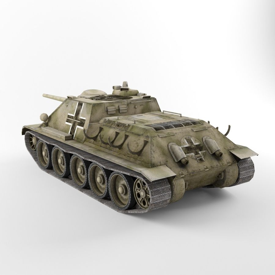 Captured Soviet tank SU-85-II royalty-free 3d model - Preview no. 3