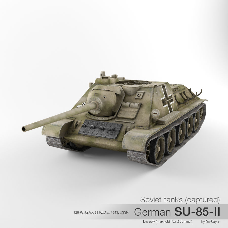 Captured Soviet tank SU-85-II royalty-free 3d model - Preview no. 1