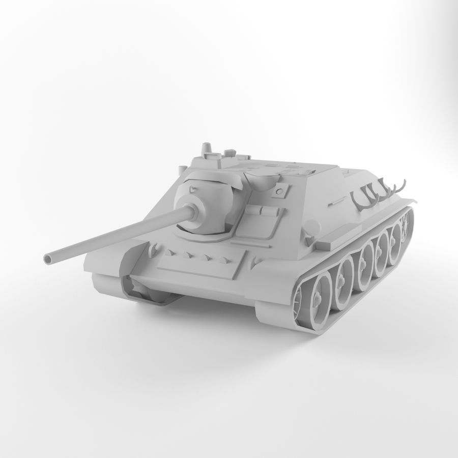 Captured Soviet tank SU-85-II royalty-free 3d model - Preview no. 8