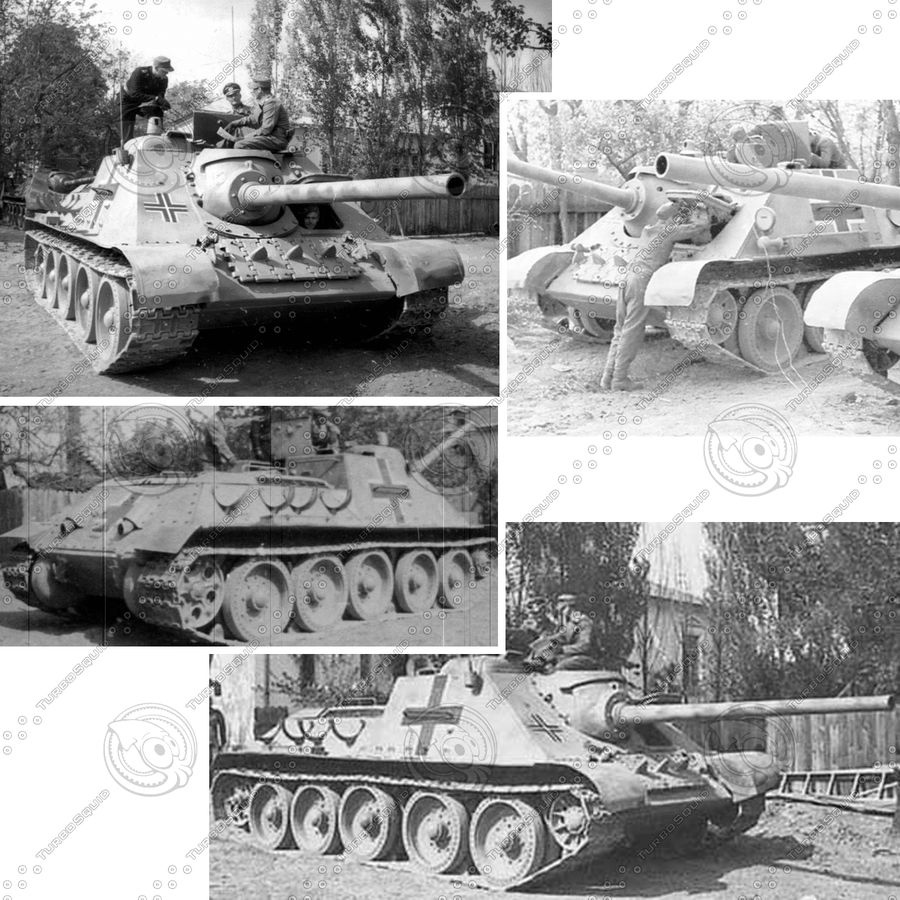 Captured Soviet tank SU-85-II royalty-free 3d model - Preview no. 10