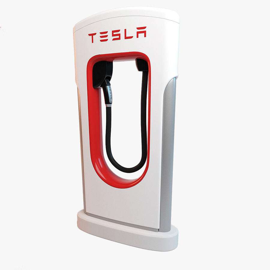 Tesla Supercharger station royalty-free 3d model - Preview no. 4