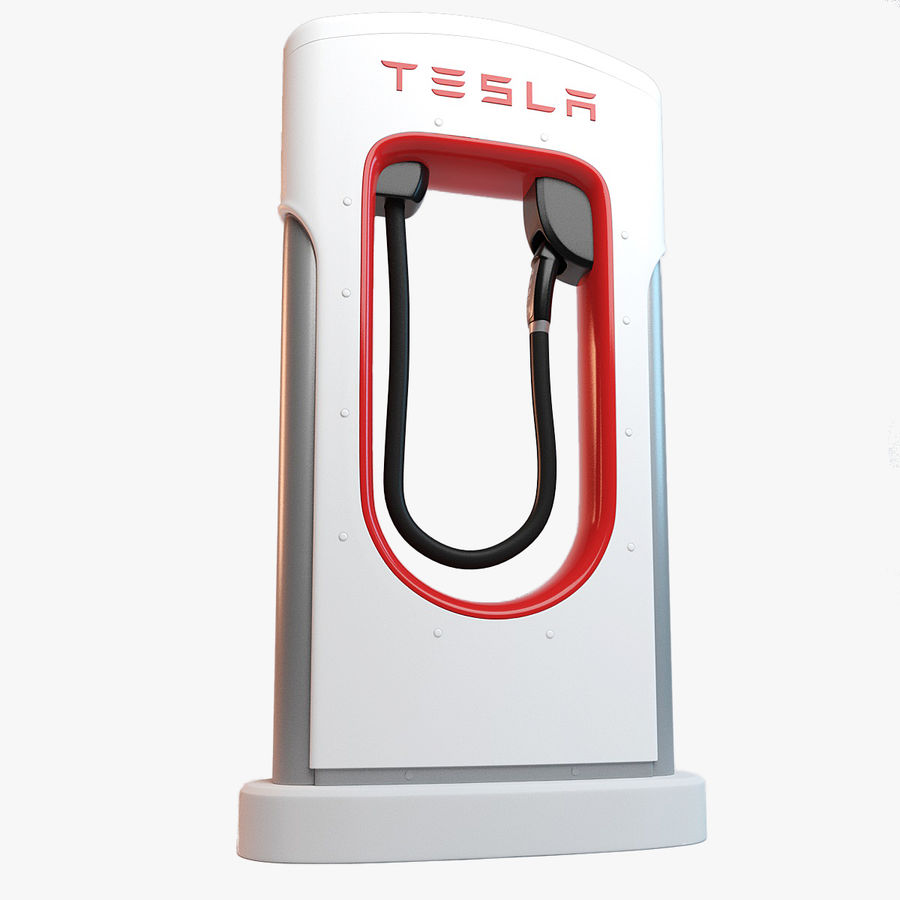 Tesla Supercharger station royalty-free 3d model - Preview no. 1