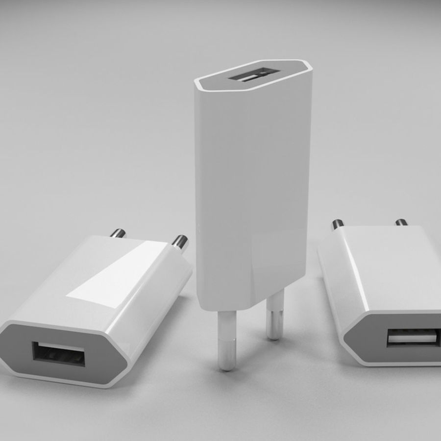 apple charger royalty-free 3d model - Preview no. 4