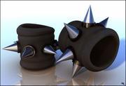Bracelets Punk En Cuir 3d model