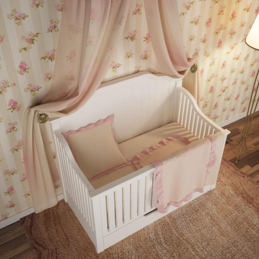 침구와 세련된 침대 royalty-free 3d model - Preview no. 2