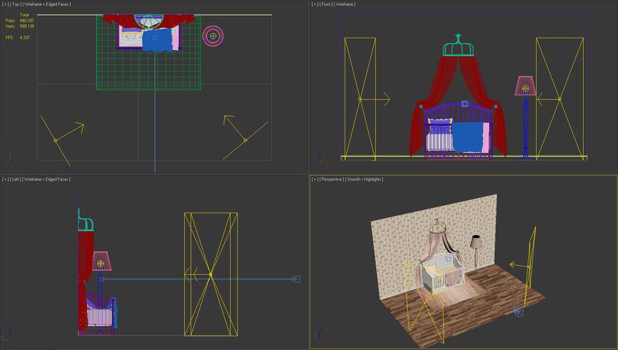 침구와 세련된 침대 royalty-free 3d model - Preview no. 6