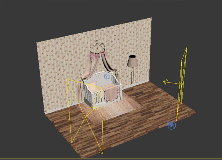 침구와 세련된 침대 royalty-free 3d model - Preview no. 7