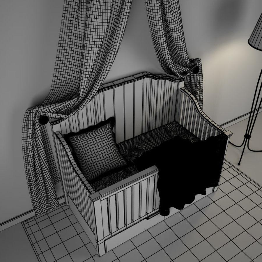 침구와 세련된 침대 royalty-free 3d model - Preview no. 5
