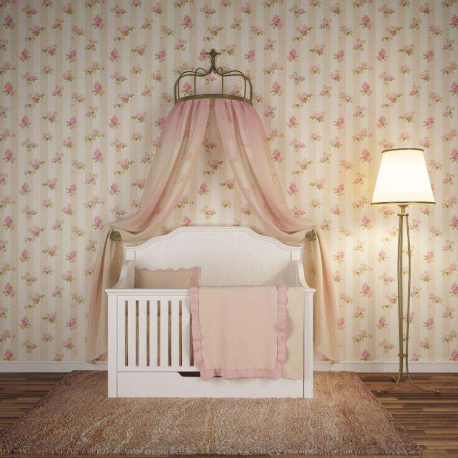 침구와 세련된 침대 royalty-free 3d model - Preview no. 1