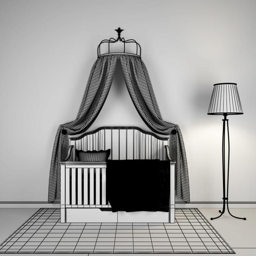 침구와 세련된 침대 royalty-free 3d model - Preview no. 4