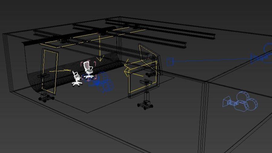 Scène de studio avec des chaises de bureau royalty-free 3d model - Preview no. 7