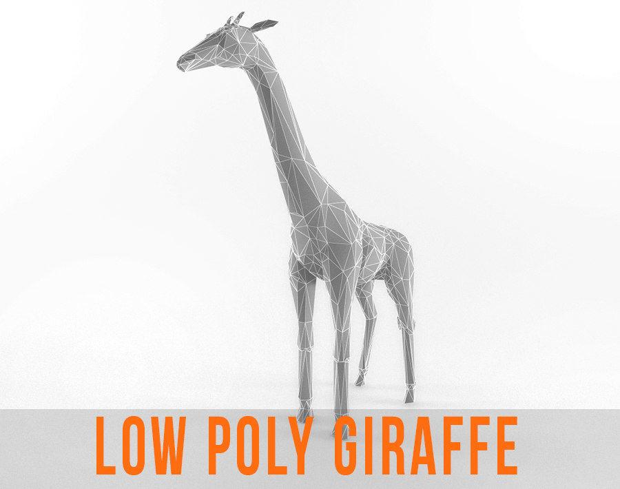 Jirafa Low Poly Mamífero Africano Animal Salvaje Lowpoly royalty-free modelo 3d - Preview no. 1