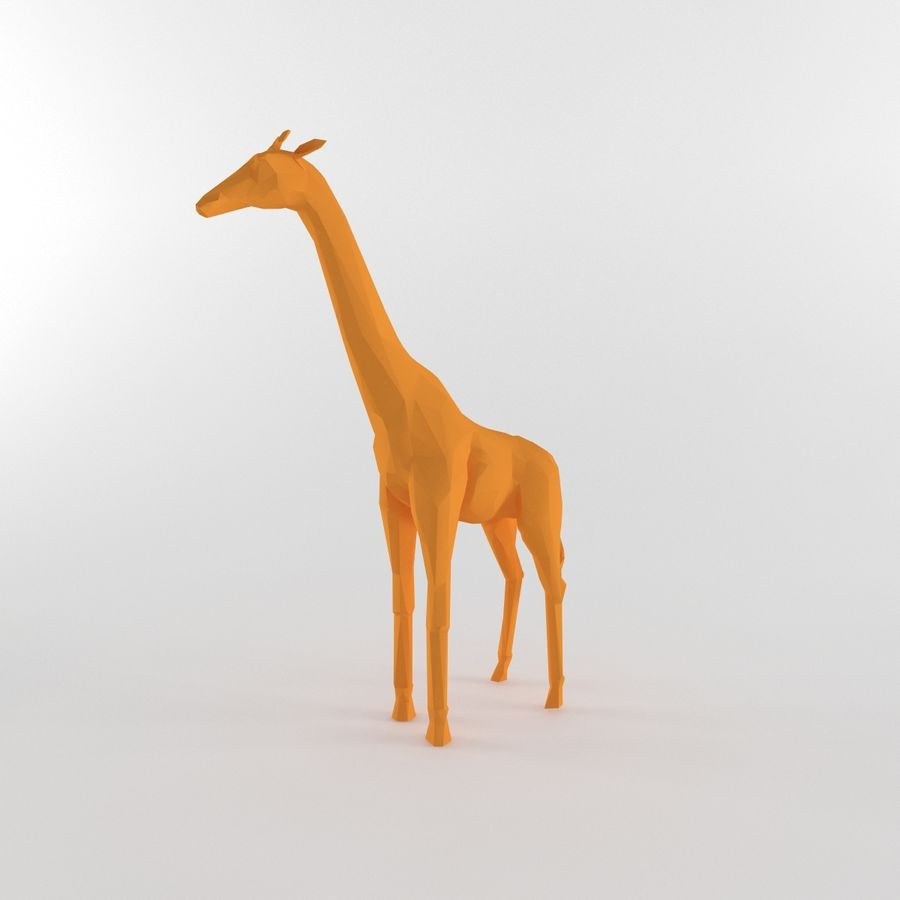 Giraffe Low Poly Mammal African Wild Animal Lowpoly royalty-free 3d model - Preview no. 6