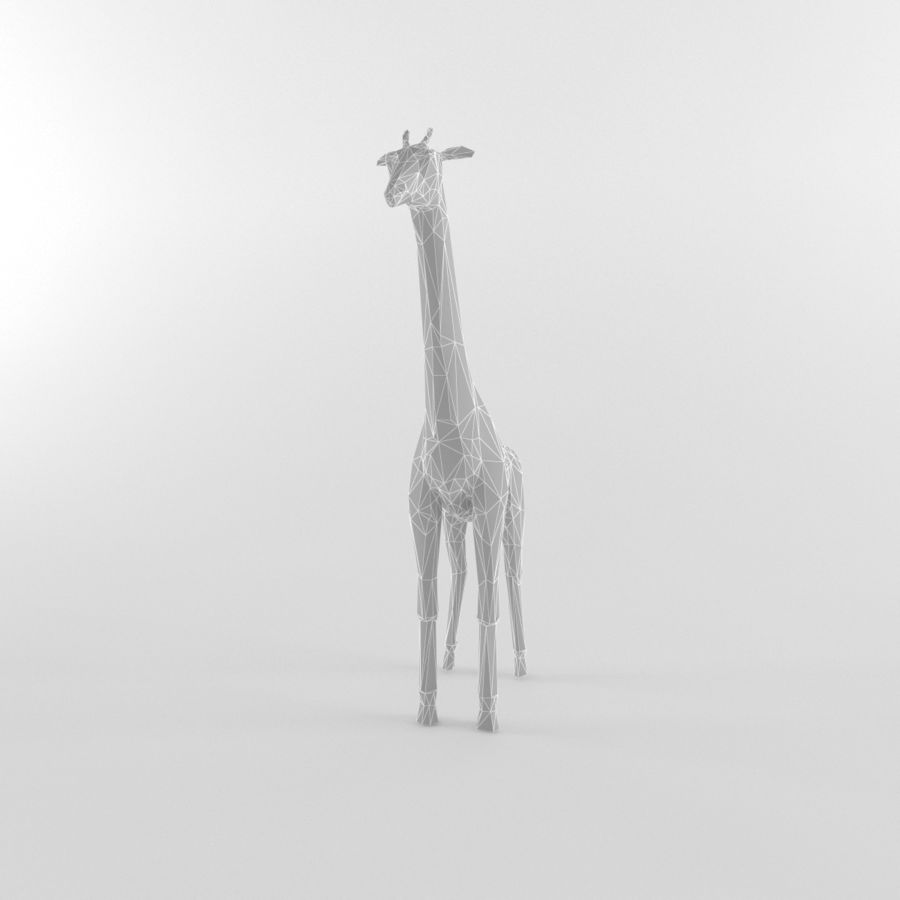 Jirafa Low Poly Mamífero Africano Animal Salvaje Lowpoly royalty-free modelo 3d - Preview no. 2
