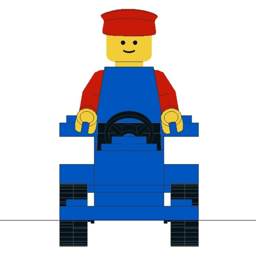Lego Car royalty-free 3d model - Preview no. 6