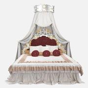 Luxury King Size Queen Bed 3d model