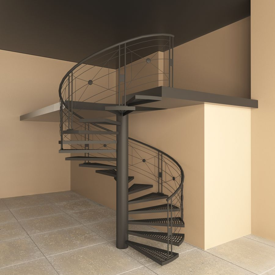 spiral staircase royalty-free 3d model - Preview no. 2