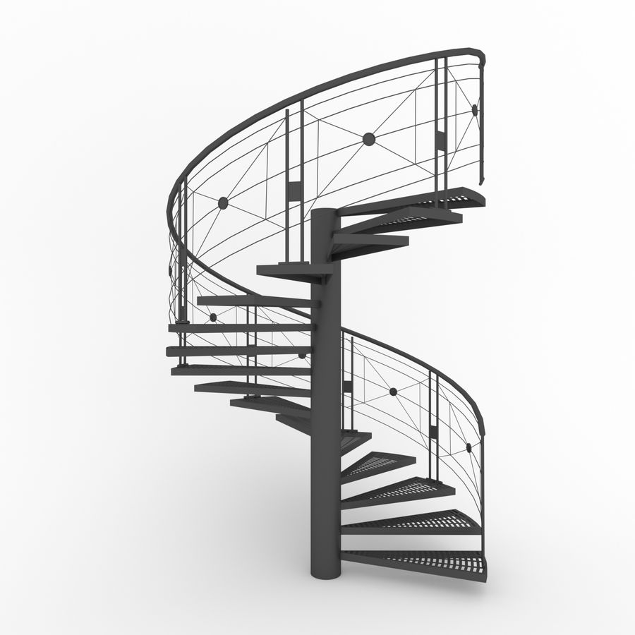 spiral staircase royalty-free 3d model - Preview no. 4