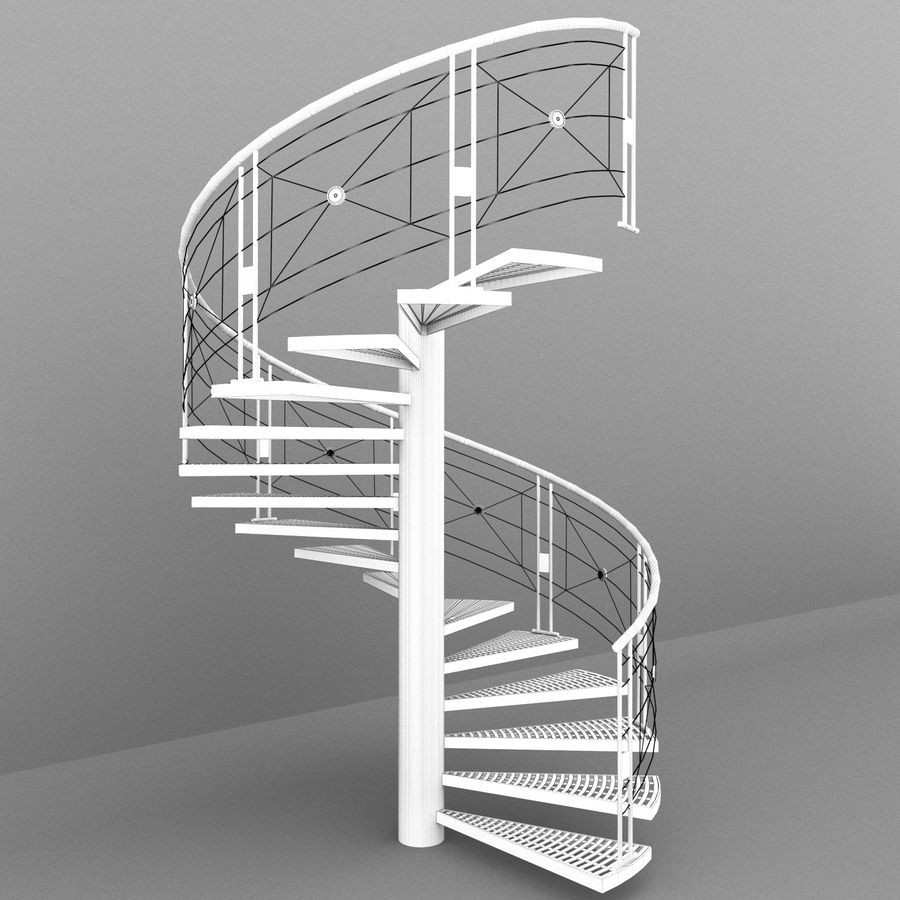 spiral staircase royalty-free 3d model - Preview no. 5