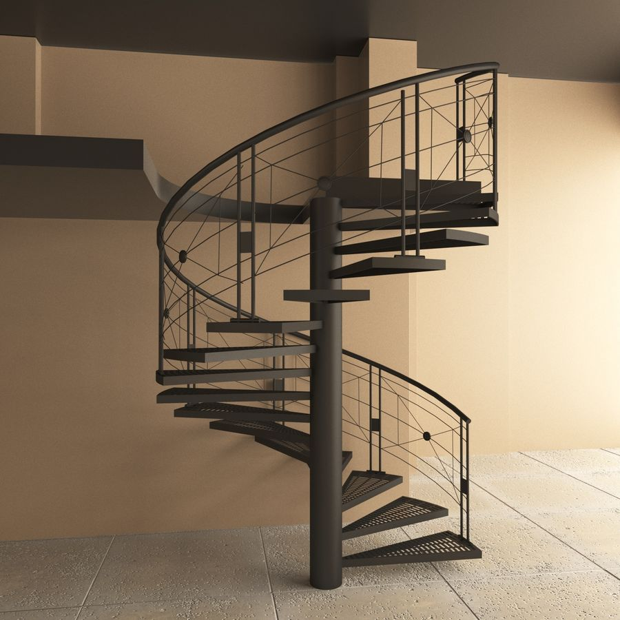 spiral staircase royalty-free 3d model - Preview no. 1