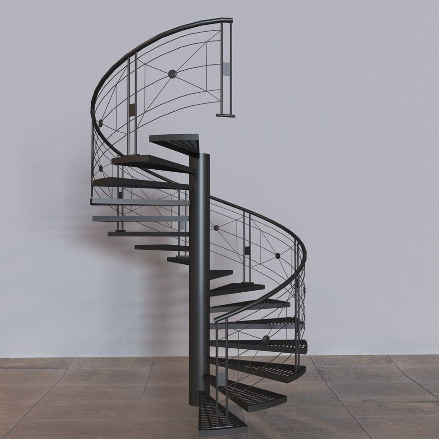 spiral staircase royalty-free 3d model - Preview no. 3