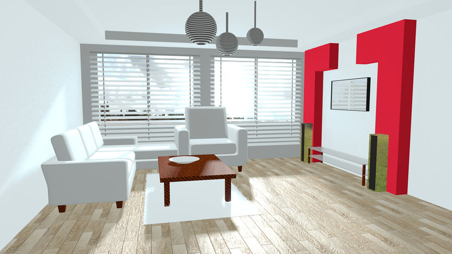 Diseño interior moderno royalty-free modelo 3d - Preview no. 2
