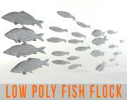 Fish Flock Lowpoly Sealife Bass Pollad Plaice Fish 3d model