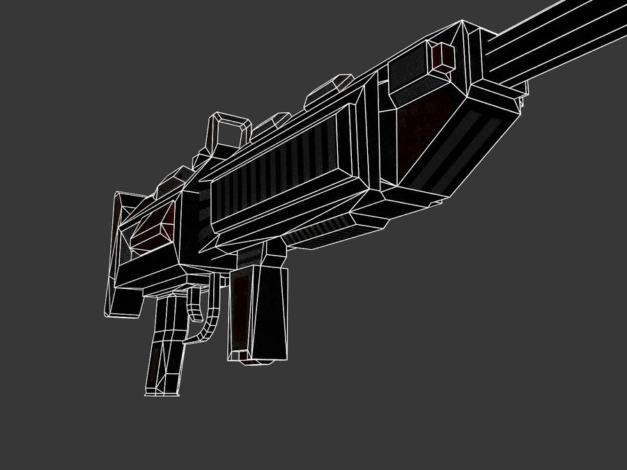 Sci-fi Rifle weapon royalty-free 3d model - Preview no. 11