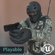 SWAT Playeble Character Unreal Engine 4 100%BP 3d model
