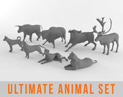 Pakiet Ultimate Low Poly Animal Pack Bull Deer Dog Tiger 3d model