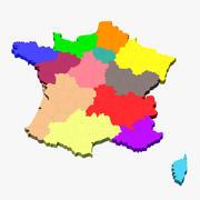Frankreich 3D Karte 3d model
