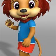 cartoon lion 3d model