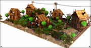Country Village Cartoon 3d model