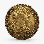 Gold Doubloon Aged 3d model