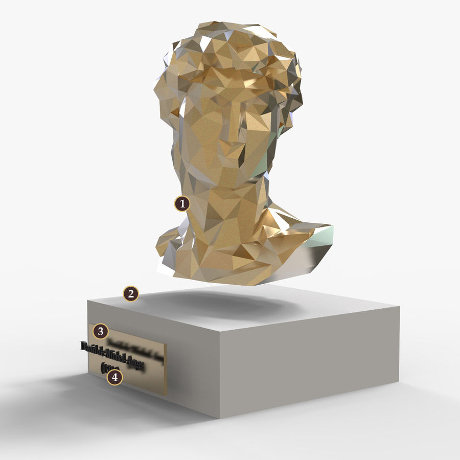 David Bust royalty-free 3d model - Preview no. 6