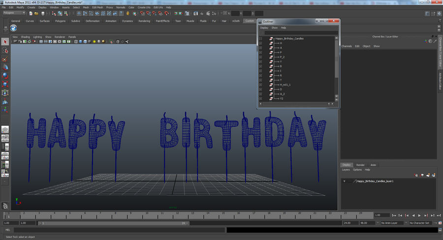 Happy Birthday Candles royalty-free 3d model - Preview no. 13