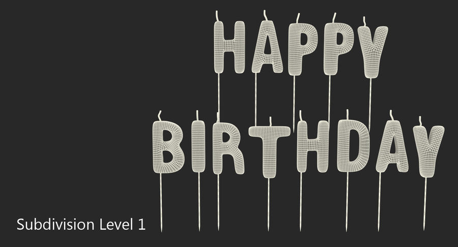 Happy Birthday Candles royalty-free 3d model - Preview no. 8