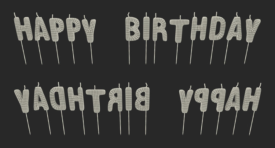 Happy Birthday Candles royalty-free 3d model - Preview no. 14