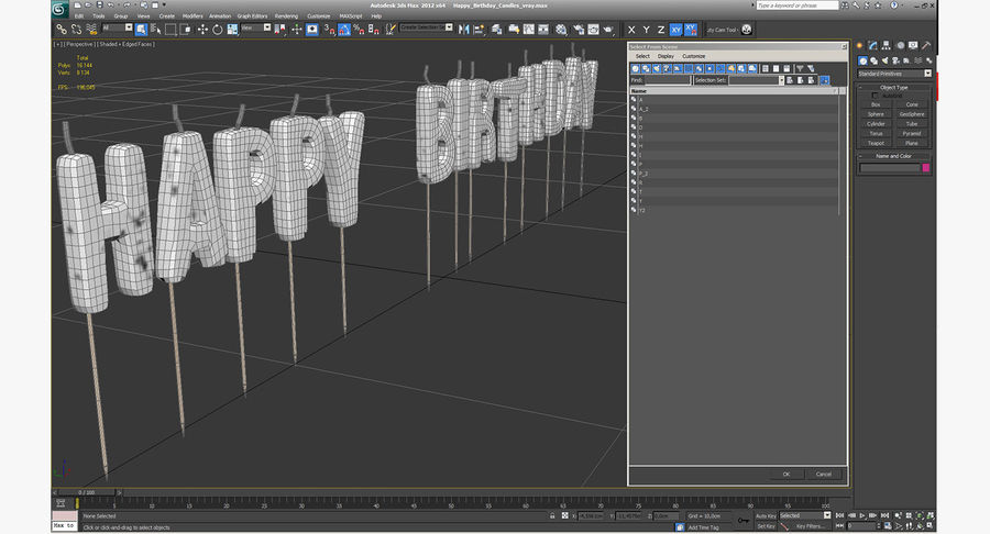 Happy Birthday Candles royalty-free 3d model - Preview no. 11