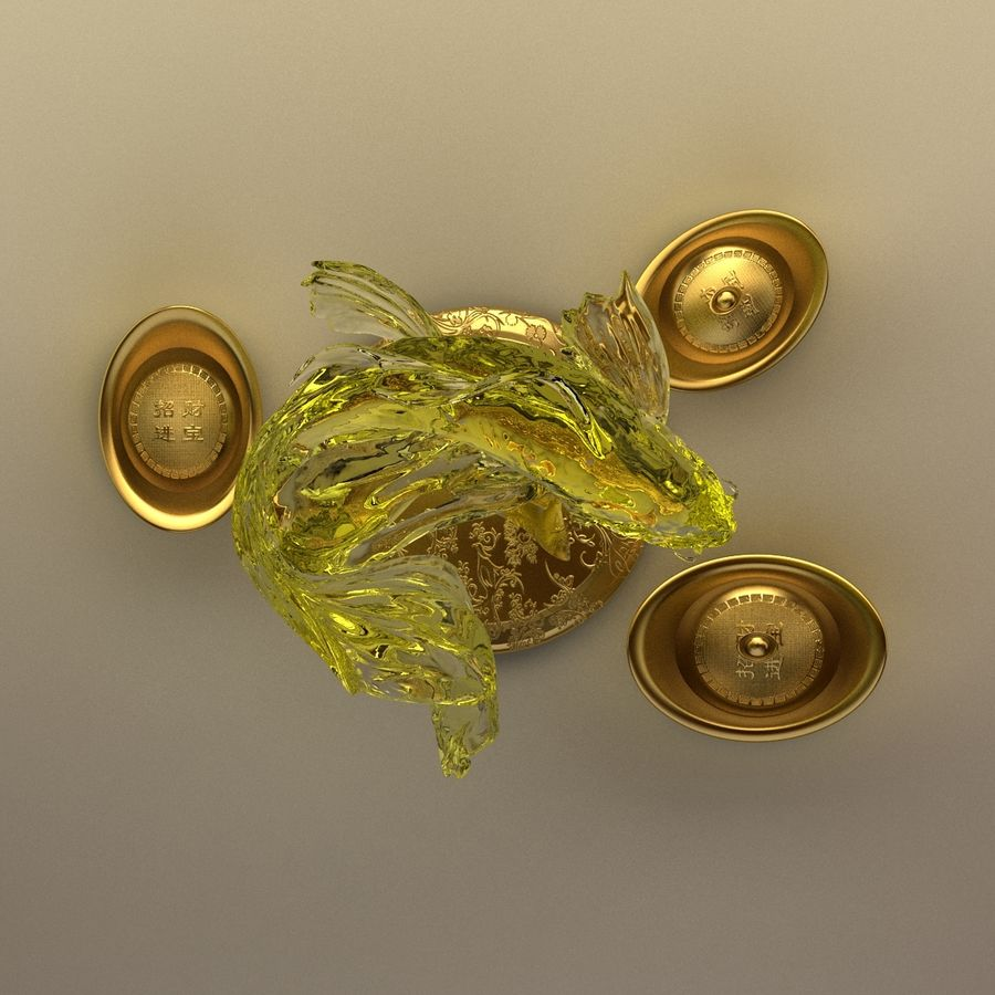 Chinese gold ingot royalty-free 3d model - Preview no. 8