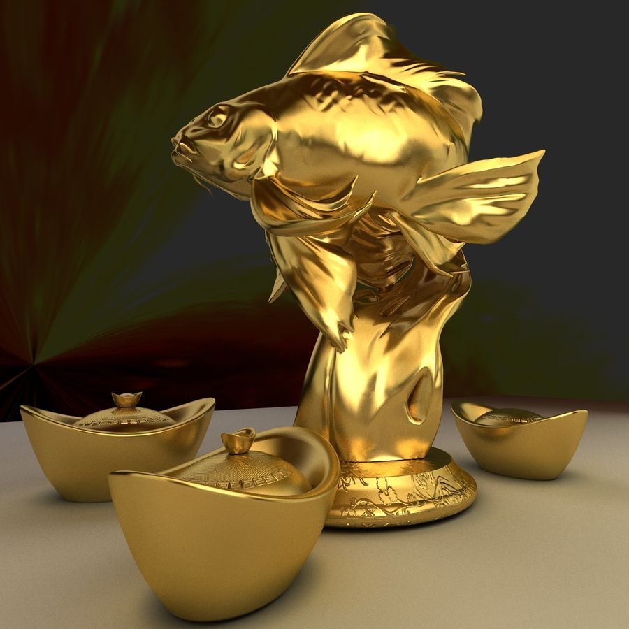 Chinese gold ingot royalty-free 3d model - Preview no. 1