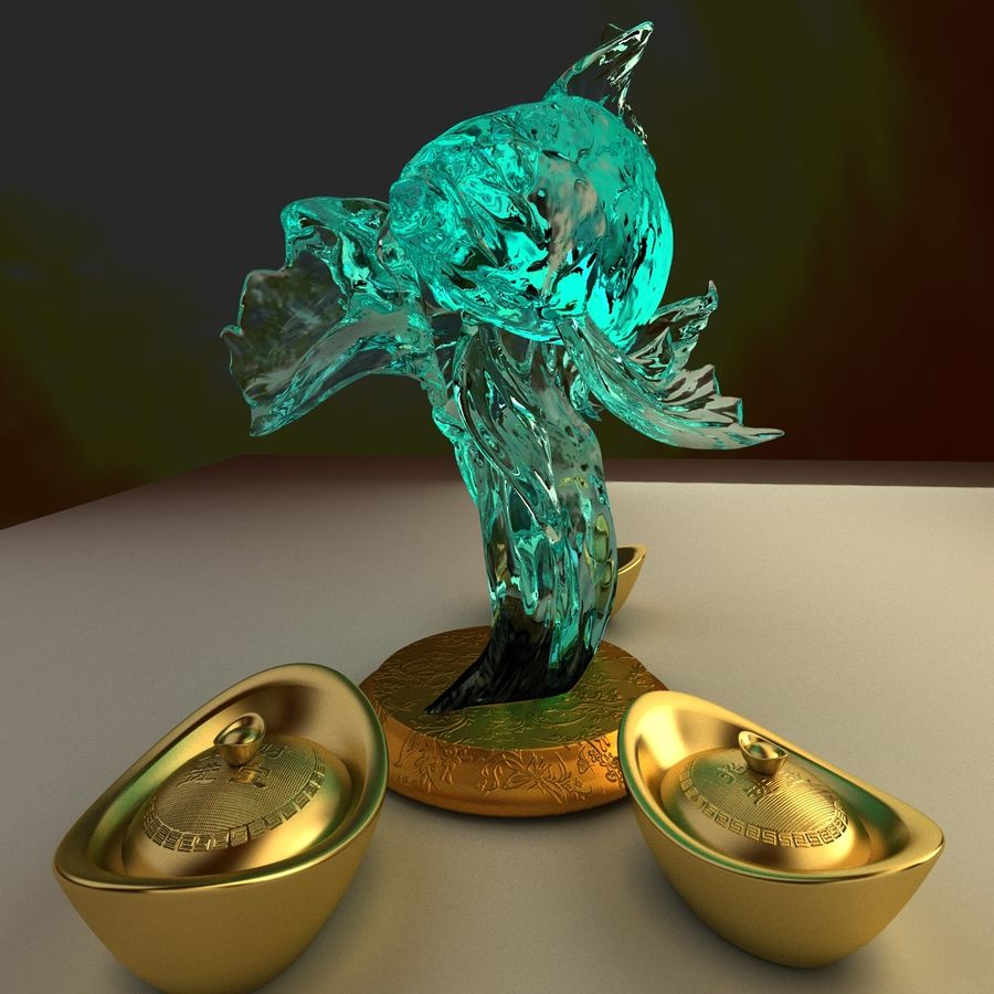 Chinese gold ingot royalty-free 3d model - Preview no. 3